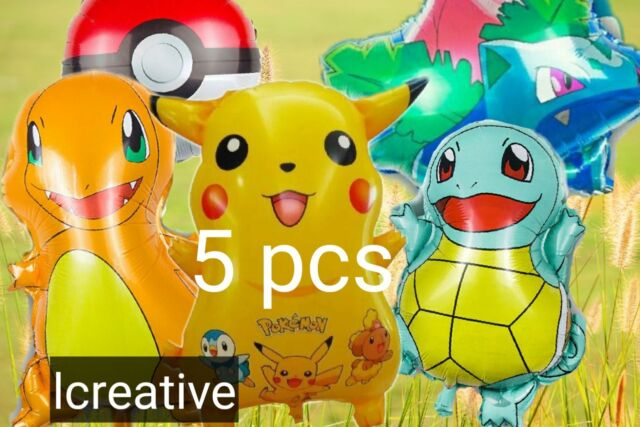 LOVSONG Pikachu Friends and Pokeball Balloon Happy Birthday Banner Birthday Decorations Party Balloons Kids Party Theme Decorations 6 PCS