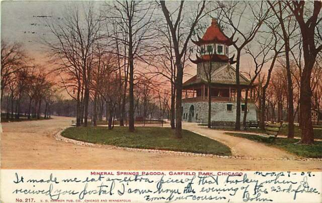 Postcard Mineral Springs Pagoda Garfield Park Chicago Illinois Used In 1909 Ebay
