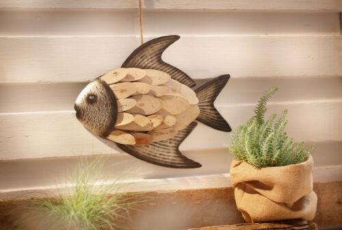 """Hänger """"""""Fisch"""" aus Holz /& Metall braun Deko Wand Tür Fenster Mobile Verzierung"""