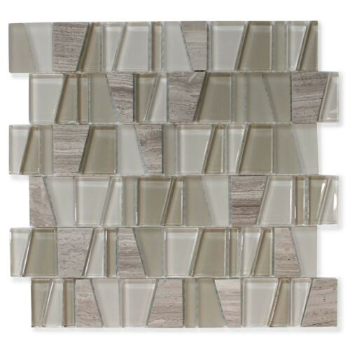 Kitchen Backsplash//Bathroom Trap Cotton Field Glass and Stone Mosaic Tiles