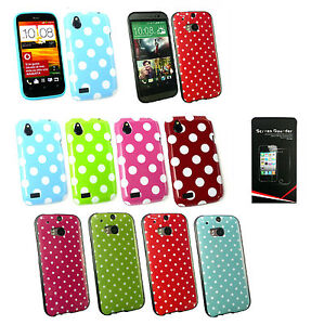Polka-Dots-Silicone-Gel-Case-Cover-for-HTC-Models-Screen-Protector