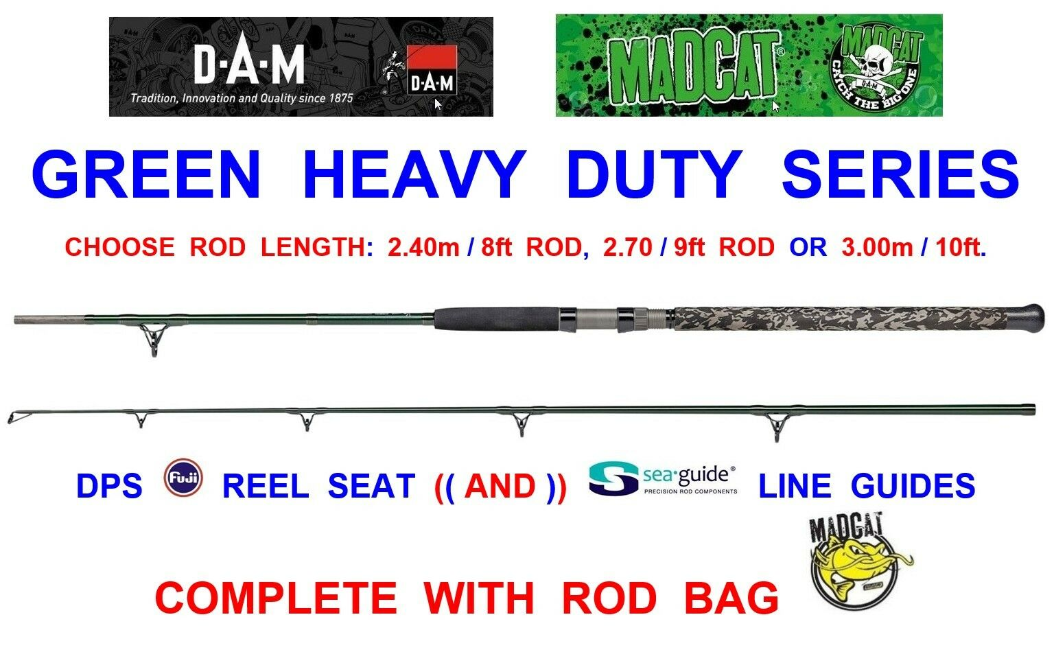 2019 DAM MAD CAT GREEN HEAVY DUTY CATFISH ROD COARSE BOAT CLONK FISHING SPINNING
