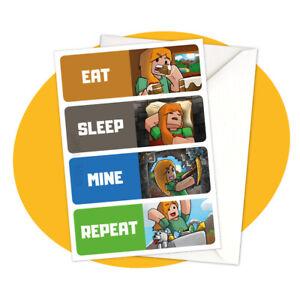 Alex-Eat-Sleep-Mine-Repeat-GREETING-CARD-Minecraft-personalized-personalised