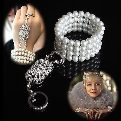 The Great Gatsby Bracelet Bangle Ring Rhinestone Crystal Pearls Bridal Wedding