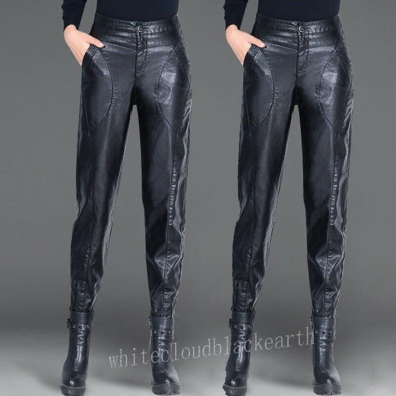 Fashion Womens Casual Leather Pants Skinny High Waist Pants Strench Trousers