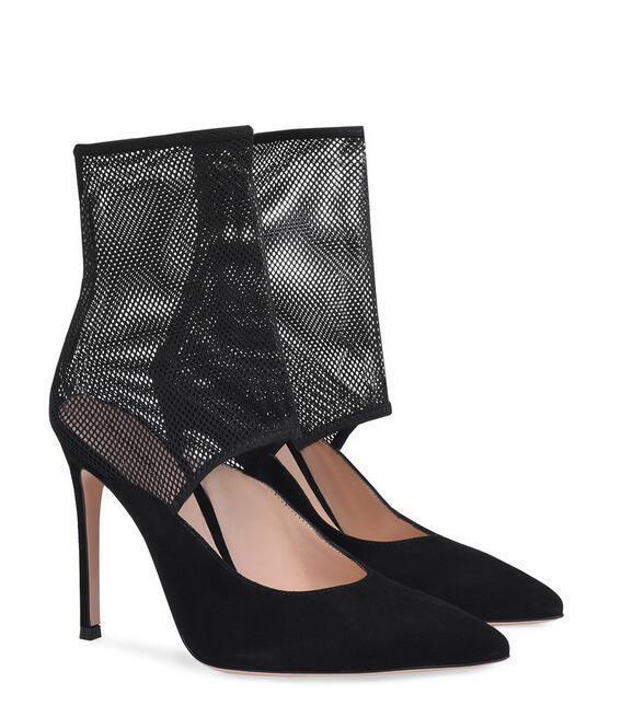 Sexy femmes Oxford Mesh European Pointy Toe Roman High Heel chaussures Uk Sz35-46