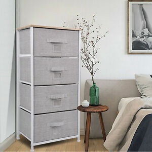 Chest Fabric Storage 4 Drawers Dresser Bedroom Cabinet Furniture Toys Organizer