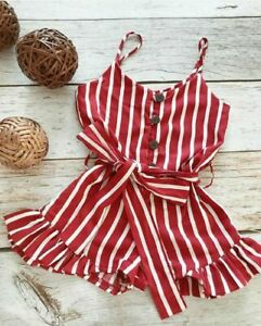 Toddler-Kid-Baby-Girl-Clothes-Sleeveless-Striped-Romper-Summer-Chiffon-Outfit-US