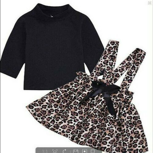 New Set Leopard Print Top Romper Pants 3Pcs Newborn Baby Girl Hat Outfit Clothes