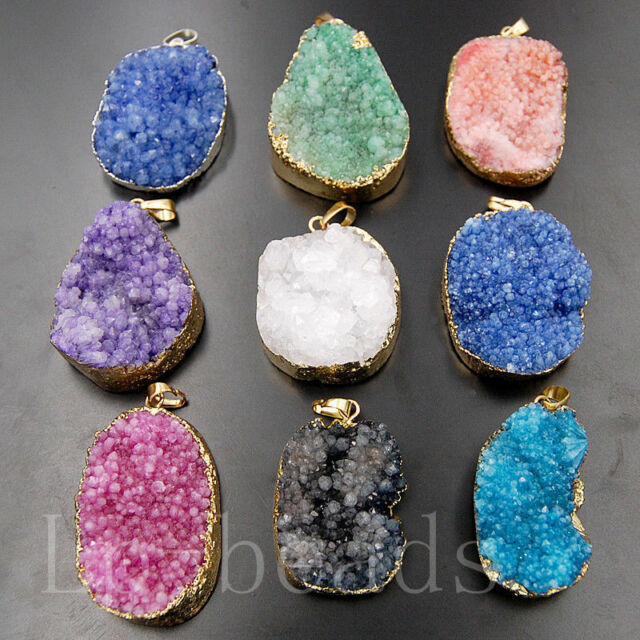 Natural Druzy Drusy Quartz Agate Silver Gold Freeform Pendant Beads Necklace