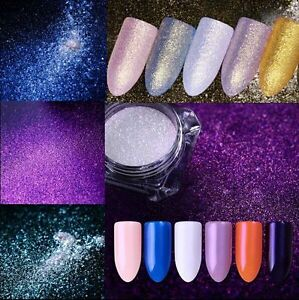 Image Is Loading Mermaid Diamond Nail Powder Dust Mirror Gold Purple