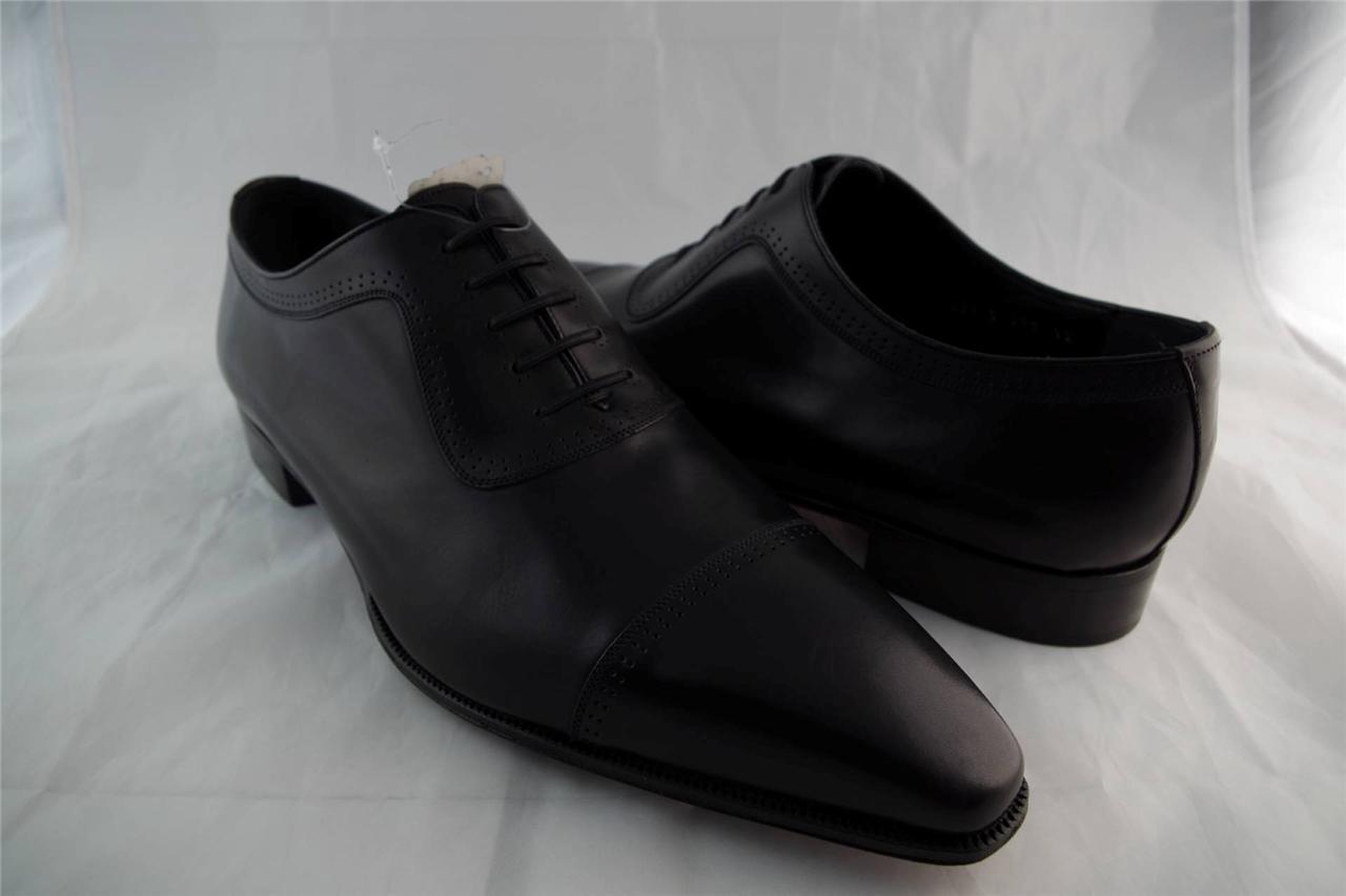 Stefano Cuero Ricci Cuero Stefano Negro Puntera Zapatos Talle 12 Nuevos Oxford vestido de acero 1f3667