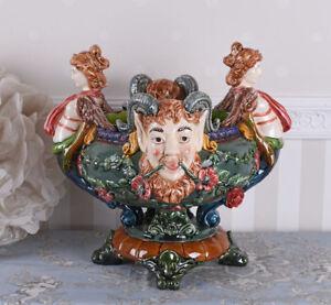 Prunkgefaess-Blumentopf-Antik-Schale-Keramik-Porzellanschale-Maskaron-Jardiniere