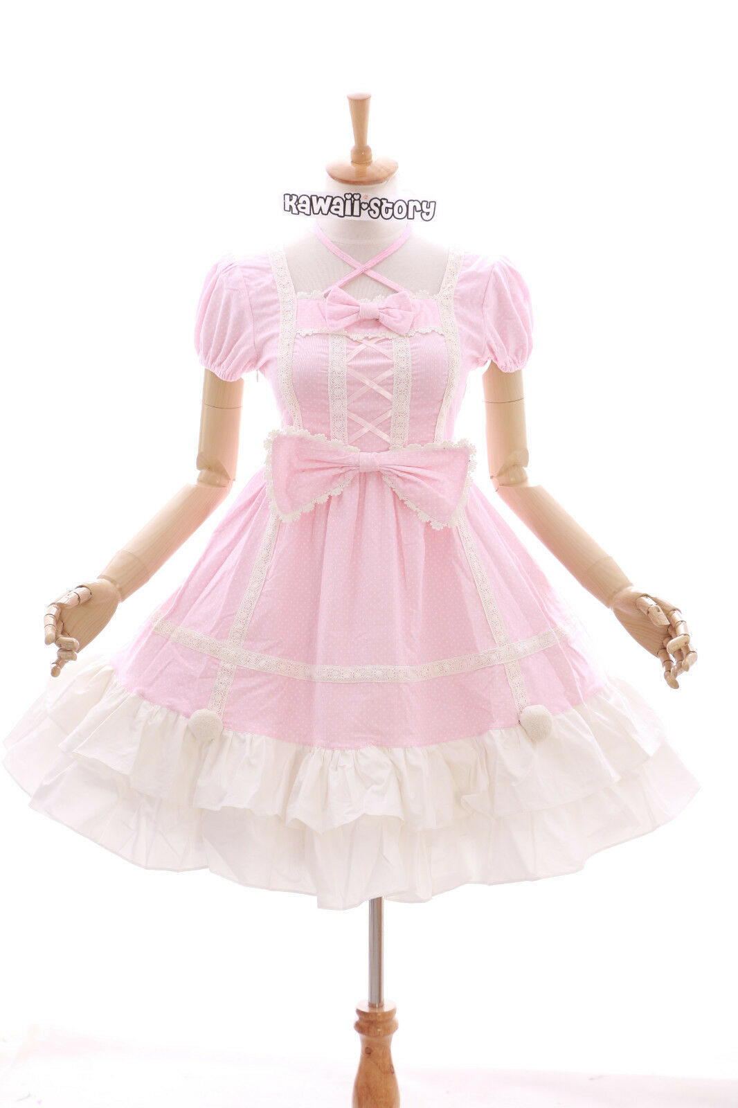 JL-628-2 pink Punkte Klassik Gothic Schleife Lolita Kleid dress Kostüm Cosplay