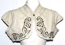 M Embroidered Short Steam Punk Beaded Hippie Boho Bohemian Jacket Shrug Coat Top