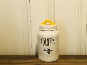 Rae-Dunn-BEE-By-Magenta-QUEEN-BEE-8-5-inch-Yellow-Lid-Farmhouse-Canister