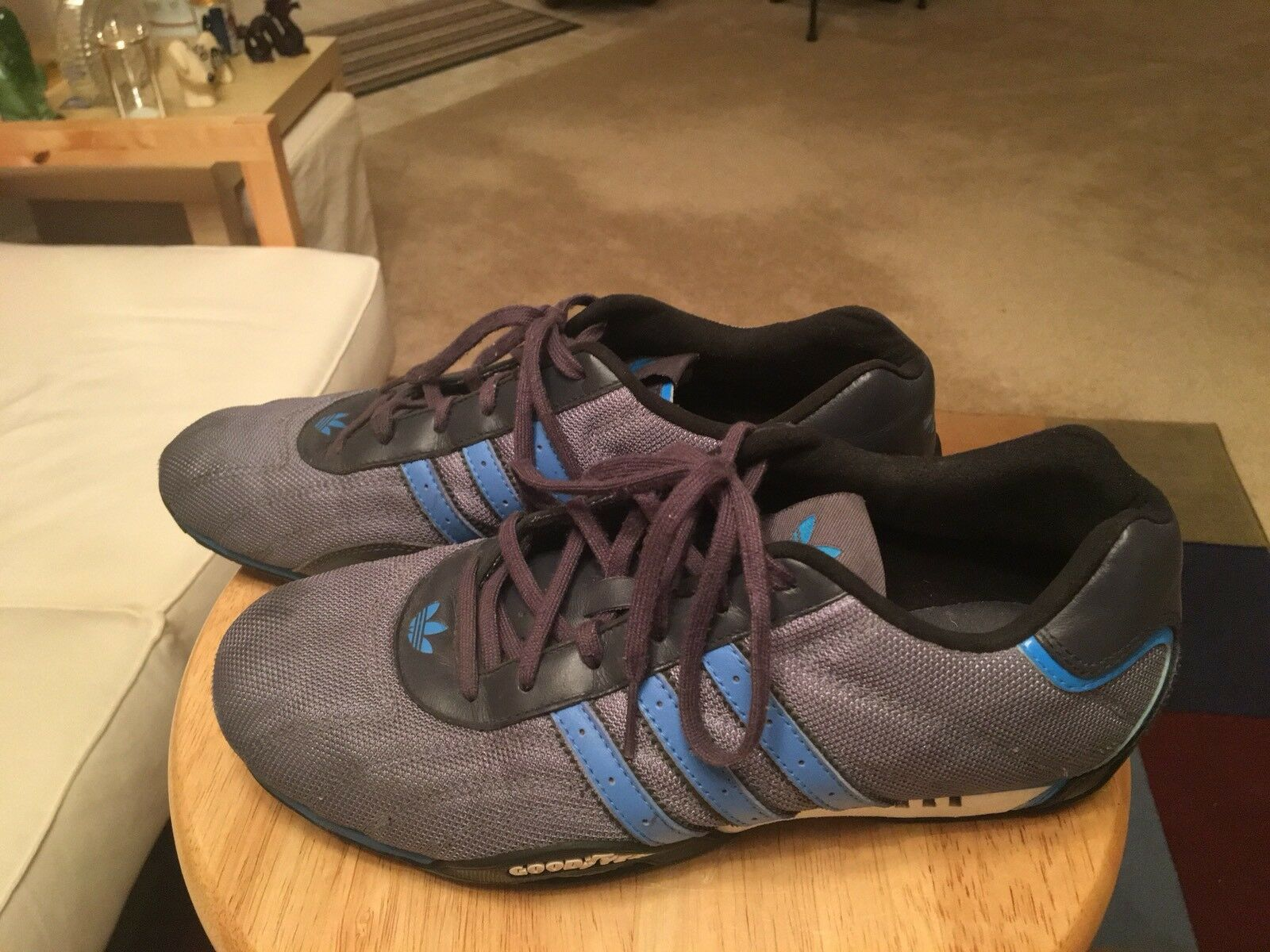 Vintage Team Adidas Goodyear Gray/Blue & White Trim Men's US8.5 Driving Shoes