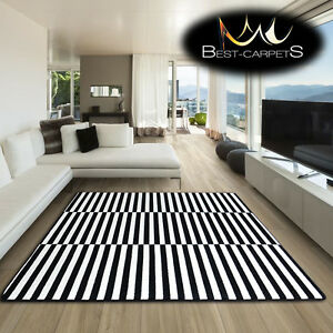 Amazing Thick Modern Rugs Sketch White Black F132 Stripes Size Best