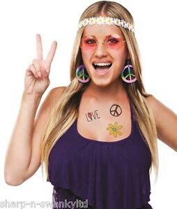 Sonnig Damen 1960er Jahre Hippy Stirnband Brillen Ohrring Kostüm Verkleidung Zubehör