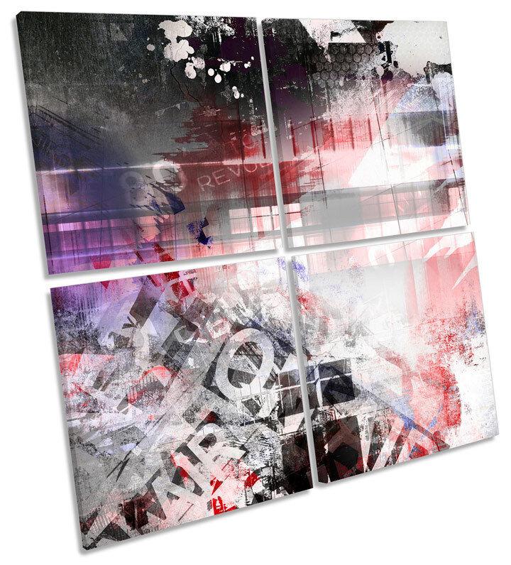 Diseño De Lona MULTI Pared Arte Abstracto Grunge MULTI Lona Cuadrado de impresión 515e9d
