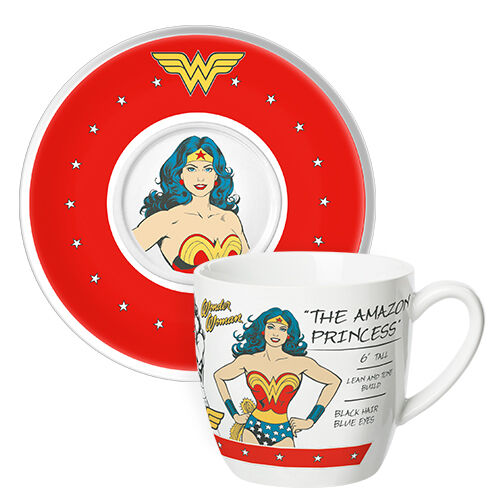 WONDER WOMAN CUP & SAUCER - Plate Tea Mug 250 mls - Birthday Gift