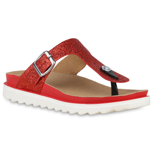 Damen Sandaletten Zehentrenner Plateau Pantoletten Glitzer Schuhe 830177 Trendy