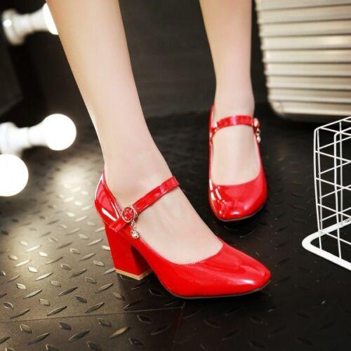 Womens Pumps Block Mid Heels Buckle Belt Shoes Ankle Strap Work Office OL Shoes