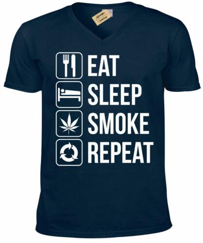 Eat Sleep SMOKE Repeat T-Shirt weed high cannabis stoner gift mens V-Neck Tee