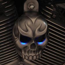 Skull Horn Cover.Aged Aluminum LIGHTED EYE. Harley Davidson. SKU-ETAL-1