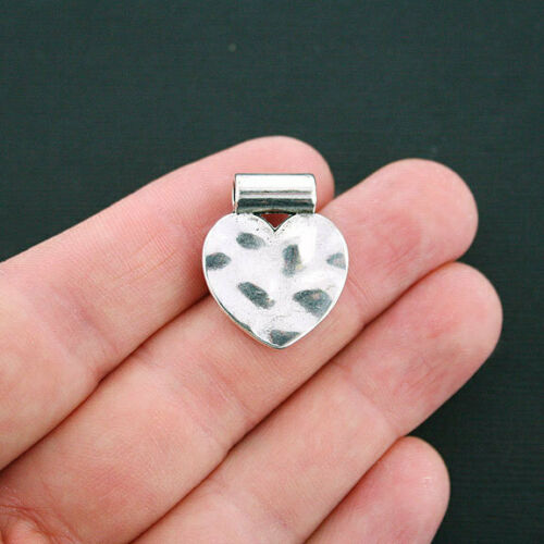 SC4655 5 Heart Spacer Bead Antique Silver Tone 2 Sided Hammered Look