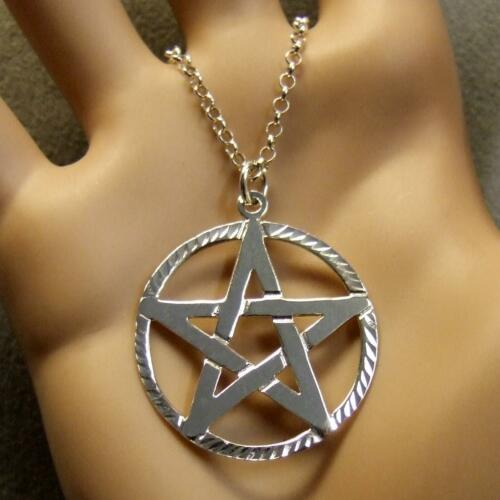 sterling silver new pentangle pendant & chain