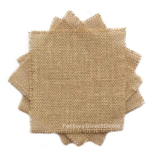 10 piezas Yute Arpillera Arpillera restos de tela Artesanía Coser elaboración de tarjetas 10X10cm