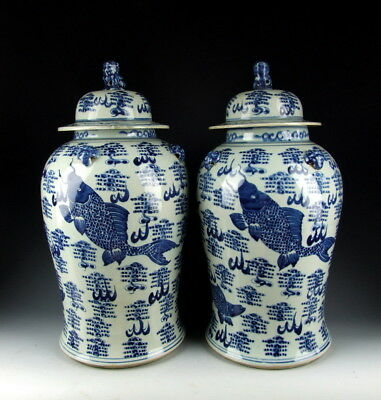 Pair Of China Antiques Blue&white Porcelain Lidded Jars W Fish&waterweeds Deco To Adopt Advanced Technology
