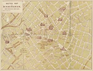 MAP-REPRO-ANTIQUE-KIRK-GUIDE-BIRMINGHAM-UK-STREET-PLAN-LARGE-ART-PRINT-LF898