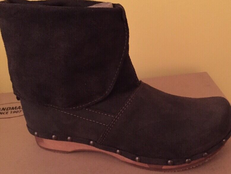 SANITA DANISH LEATHER 37 ANKLE CLOG BOOTS WOOD PLATFORM SIZE 37 LEATHER NEW ANTRACITE d96c8e