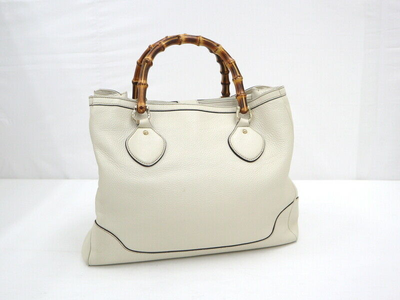 Used Gucci Diana Bamboo Tote Bag Leather White W3… - image 2