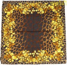 VERSACE brown & golden Floral MEDUSA Medal ANIMAL Print silk scarf NWT Authentic