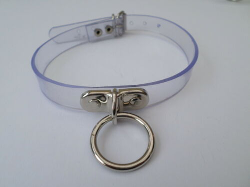 """clear pvc fetish bondage slave collar with 25mm ring  12-15"""" neck 16mm wide"""