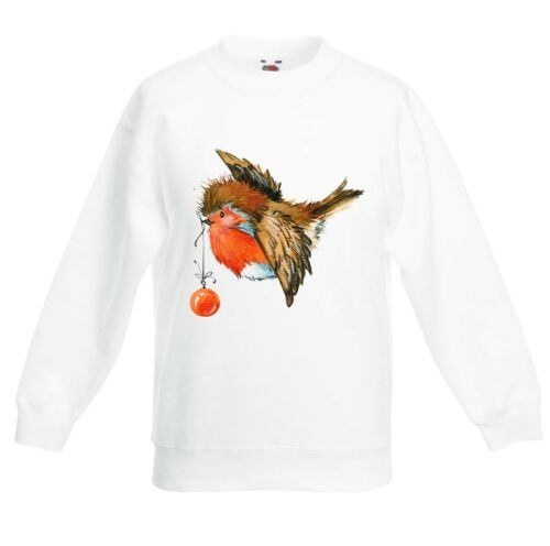 Childrens Christmas Robin With Bauble Cute Kids Sweater \ Jumper