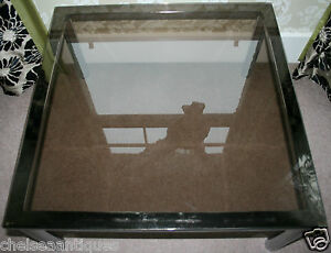 Details About 1970s Vintage Heals Coffee Table 84cm Square Smokey Glass Silvergrey Industrial
