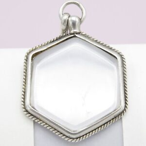 Antique-Victorian-Sterling-Silver-Hexagon-Double-Glass-Photo-Locket-Pendant