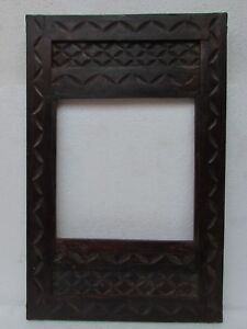 Vintage-Old-Hand-Carved-Carving-Wooden-Picture-Photo-Frame-Collectible