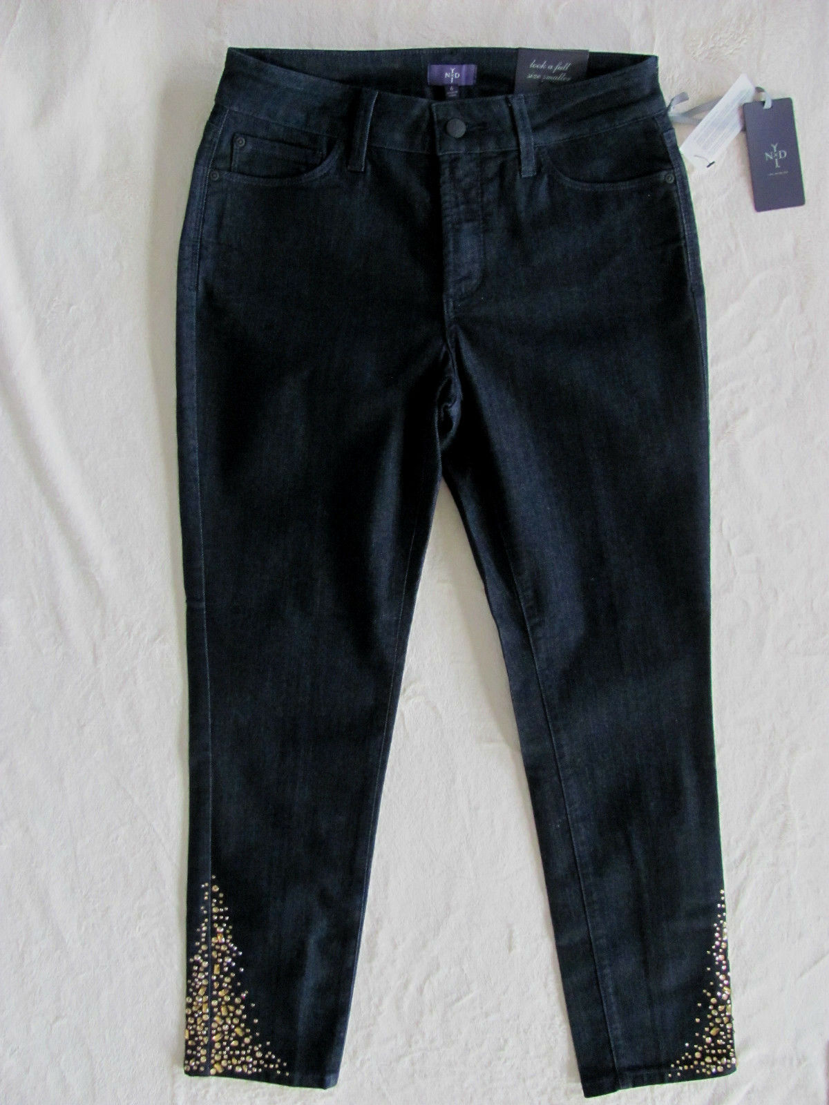 NYDJ Not Your Daughter's Jeans Amira Ankle-Emellished-Dark Enzyme -Size 6 -NWT