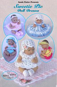 Crochet sweetie pie doll dresses pattern by annie potter ebay