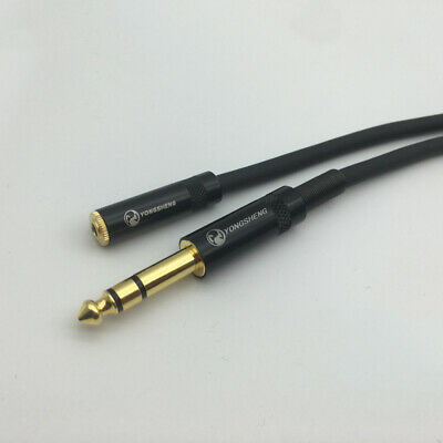 Headphone extension Cable 6.3mm Stereo male to female gold plated black 3m