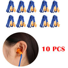 10x Soft Silicone Reusable Orange Earplugs Snoring Sleep Noise Aid With Cord New