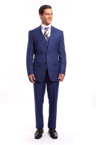 Men/'s Striped Slim Fit Suit 3 Piece Formal Vested 2 Button Pin Stripe Suits