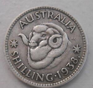 very Nice Shilling KING GEORGE VI 1943  Australian Silver 1//- One Shilling