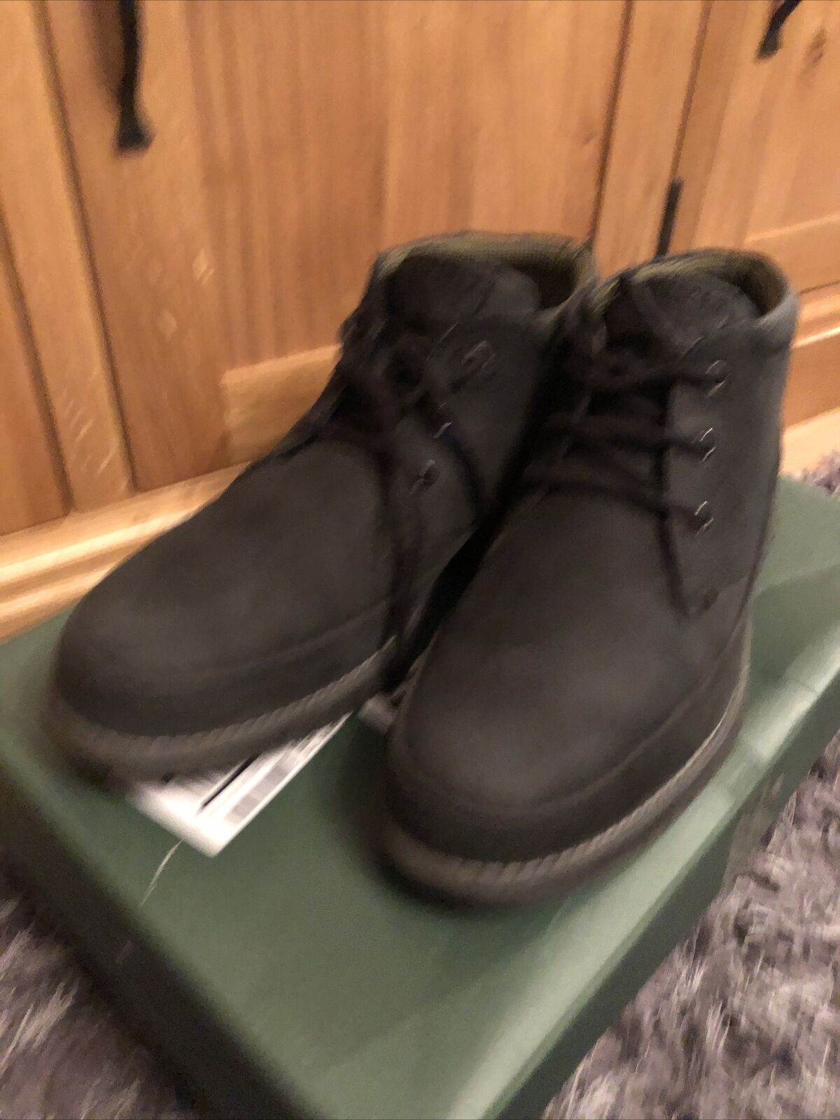 Barbour NELSON Mens Leather Casual Three Eyelet Chukka Boots Black Read Desc