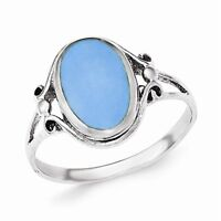 Sterling Silver Polished Synthetic Turquoise Oval Ring - Size 6